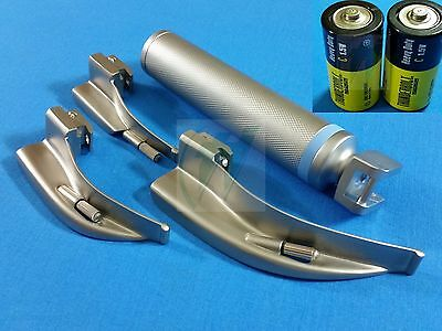 3 Laryngoscope Macintosh Mac Blades 0 1 2 Medium Handlebatteries Emt Set