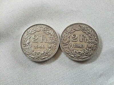 2 x 2 FRANKEN (S) 1940/43! VZ; Silber