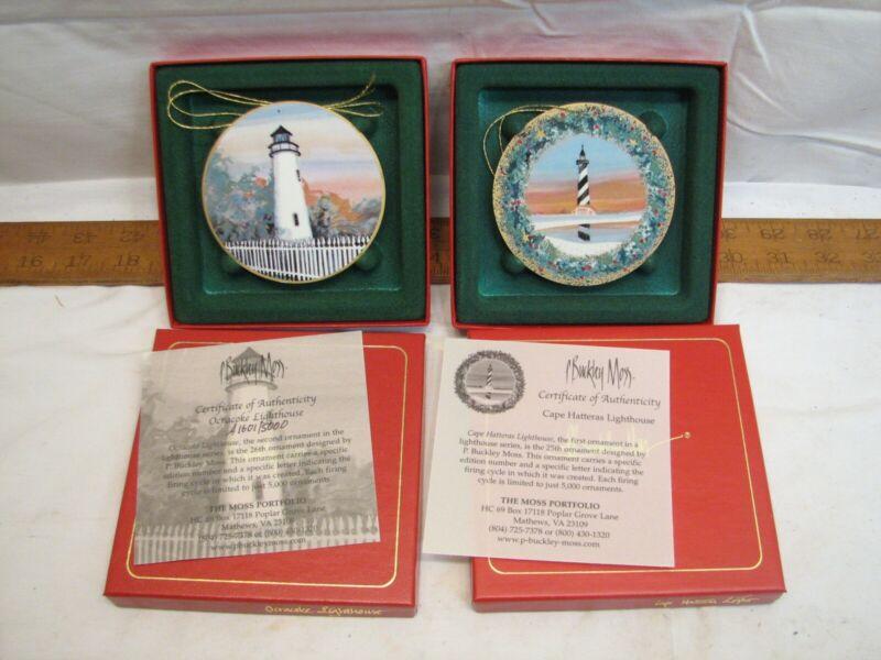 Set P Buckley Moss Ocracoke Hatteras Lighthouse Christmas Ornaments Porcelain