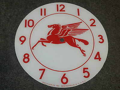 """*NEW*14.25"""" MOBIL PEGASUS HORSE ROUND GLASS FACE FOR PAM CLOCK GASOLINE GAS OIL"""