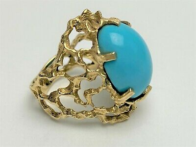 ESTATE Vtg 1960s 70s 14K Gold PERSIAN Sleeping Beauty TURQUOISE  RING Size 7 Persian Turquoise Ring
