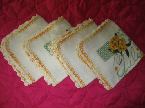 """**4-TERRY CLOTH 100% COTTON DISH CLOTHS CROCHETED EDGE YELLOW FLOWERS 12"""" by 12"""""""