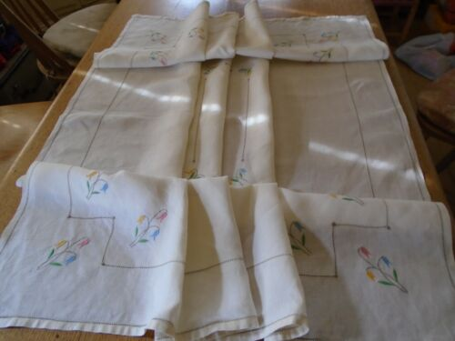 VINTAGEEMBROIDERED IRISH LINEN TABLECLOTH - SPRING FLOWERS