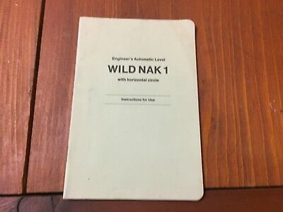 Wild Heerbrugg Nak1 Engineers Automatic Level Instructions For Use Surveyor