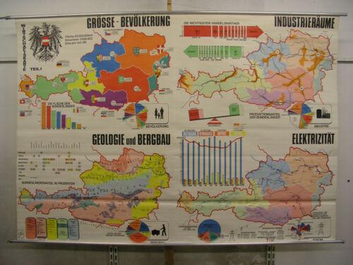 Schulwandkarte Wall Map Wirtschafts-Karte Austria 240x166 Vintage~1960