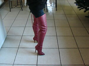 Cuissardes Cuir Rouge Marque Pleaser Taille 36