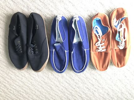 3x men's size 11 shoes - Globe, Hush Puppies and Volley