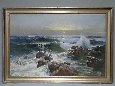 """Gemälde von Friedrich Wilhelm Schwinge """"Wellen an felsiger Küste"""" um 1896"""