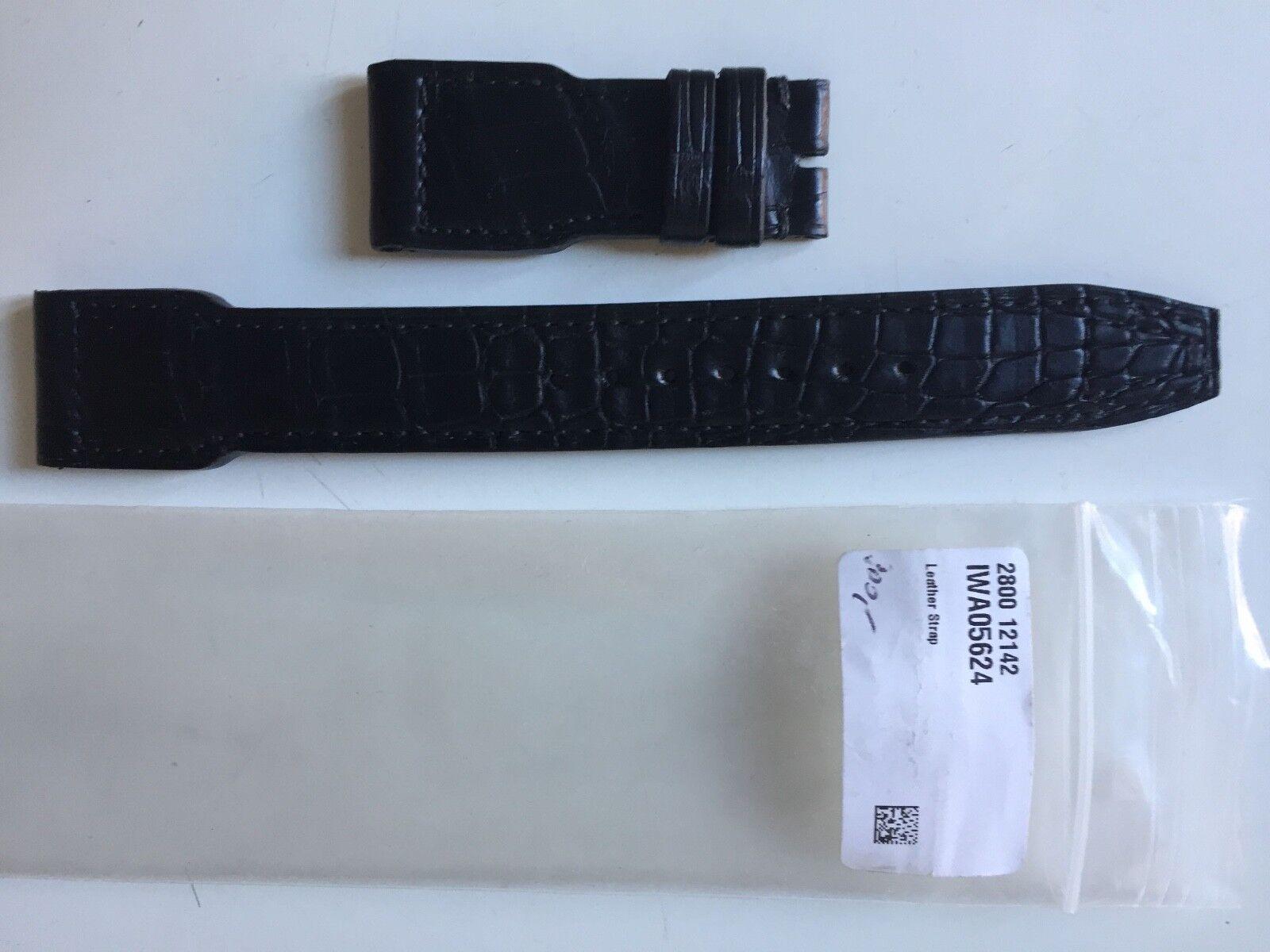 IWC Pilot Uhrenarmband Alligatorenleder Schwarz 21/18 mm
