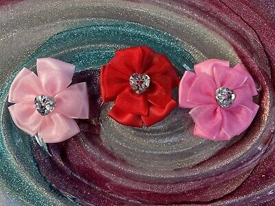 Pampered Pets Dog Grooming (Bling Dog Bows Hearts Puppy Hair Accessories Pampered Pets Qty 3 Pink Red )