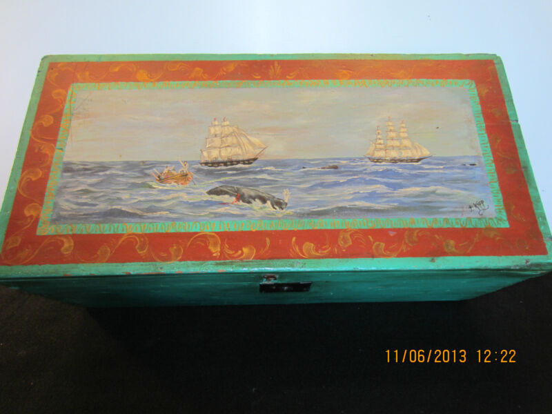 OLD, SIGNED, WHALE PAINTING ON SEAMAN