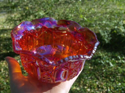 Beautiful pinkish red carnival glass bowl