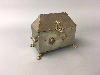 Vintage Italian Nickel & Brass Clawfoot Jewelry Vanity Box