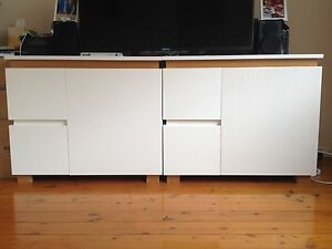 2 x White Cabinet with drawers Naremburn Willoughby Area Preview