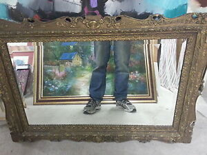 Antique Framed Bevelled Mirror plus Collection of Paintings