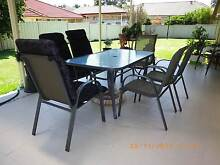 Outdoor glass table and chairs Ashtonfield Maitland Area Preview