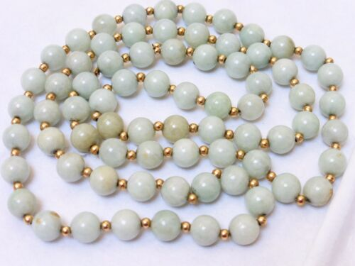 Chinese Vintage 14k Gold Green Jade Beaded Necklace, no Clasp, 68 grams