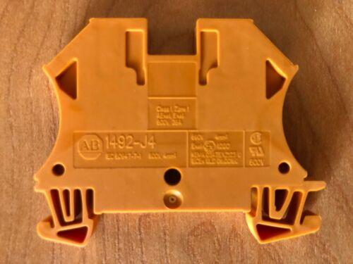 10 Allen-Bradley 1492-J4-OR, Orange Feed Thru Terminal Block, #22 - #10 AWG