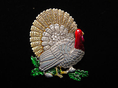 """JJ"" Jonette Jewelry Silver Pewter 'Thanksgiving TURKEY' Pin"