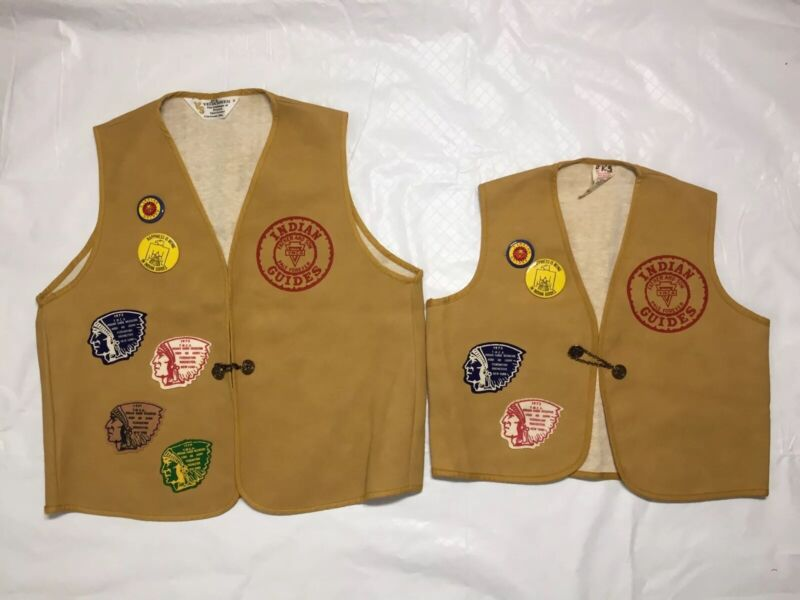 YMCA Father & Son Indian Guide Vests Patches Pins 1970