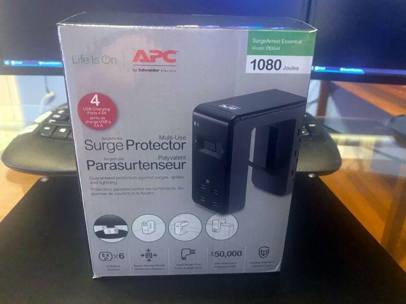 NIB APC Multi-Use Surge Protector- 6 Outlets/4 USB Ports/1080 Joules PE6U4W