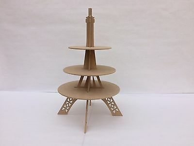 Eiffel Tower cupcake stand 3 tiers unpainted Paris themed party - Eiffel Tower Cupcake Stand
