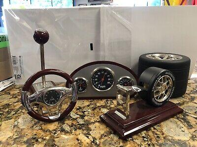 Motorsports Desk Set Steering Wheel Clock Tire Tape Dispenser Shifter Pen HotRod