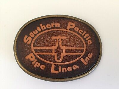 Vintage Bronze & Leather Southern Pacific Pipe Lines Belt Buckle
