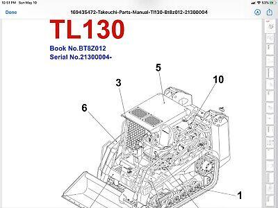 Takeuchi Tl130 Crawler Loader Parts Manual Sn 21300004 Up Pdf Digital Download