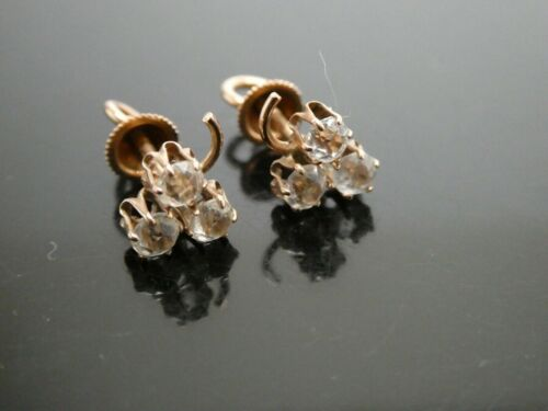Victorian 10KT Yellow Gold & White Topaz Three Leaf Clover Post Earrings