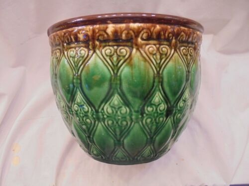 "Vintage ROBINSON RANSBOTTOM POTTERY Majolica JARDINIERE VASE,10 x 8 "" ,Grn & Bwn"