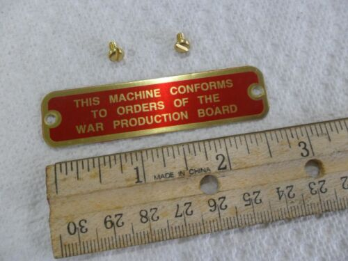 """South Bend Lathe """"War Production Board"""" Name Plate"""