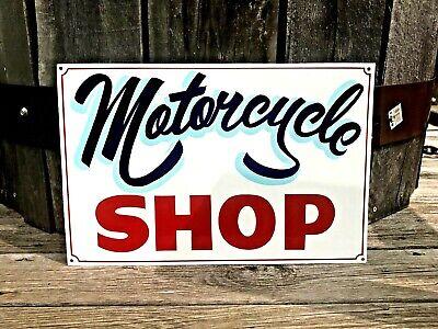 Vintage MOTORCYCLE SHOP Sign Art Gas Station Harley Chopper Bike Repair Shop