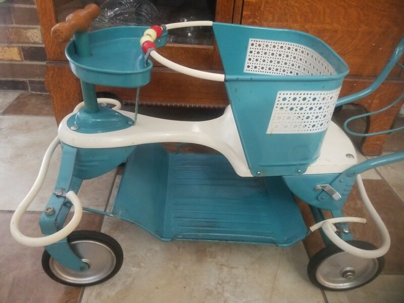 1950s Vintage Taylor Tot Blue Baby Stroller Walker In Outstanding Condition