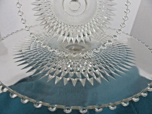 2 Clear Glass Anniversary Pattern Jeannette Glass Cake Stands Screws to One Base