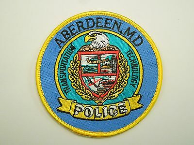 Vintage Aberdeen Md Police Transportation Technology Embroidered Sew On Patch