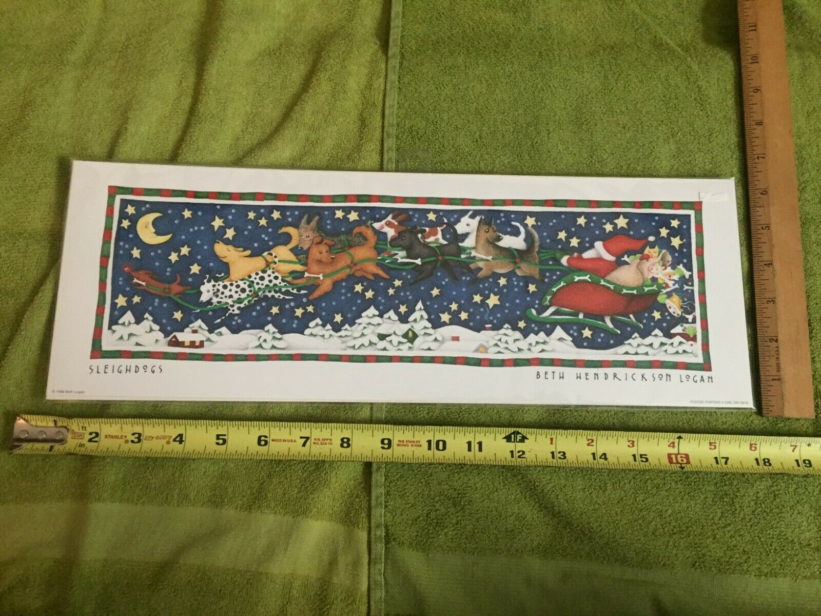 Sleighdogs Christmas/Holiday Print Santa Pulled Dogs Frame Beth Hendrikson Logan - $31.99