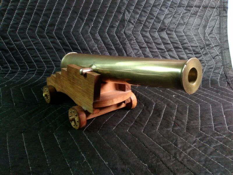 """Huge Vintage Solid Brass Cannon w/Patina 13-1/2"""" 9lb Brass Barrel - 3/4"""" Bore"""