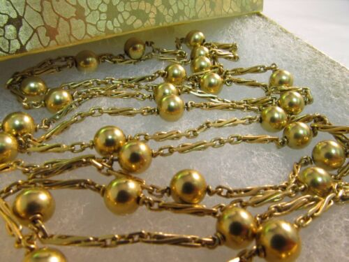 "14K Solid Gold Bead Necklace  4 Looks in one. Must See..Unique,  46"" L   #810"