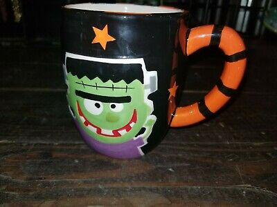 Halloween Themed Coffee Mugs (Frankenstein's Monster Halloween theme orange/black large coffee mug)