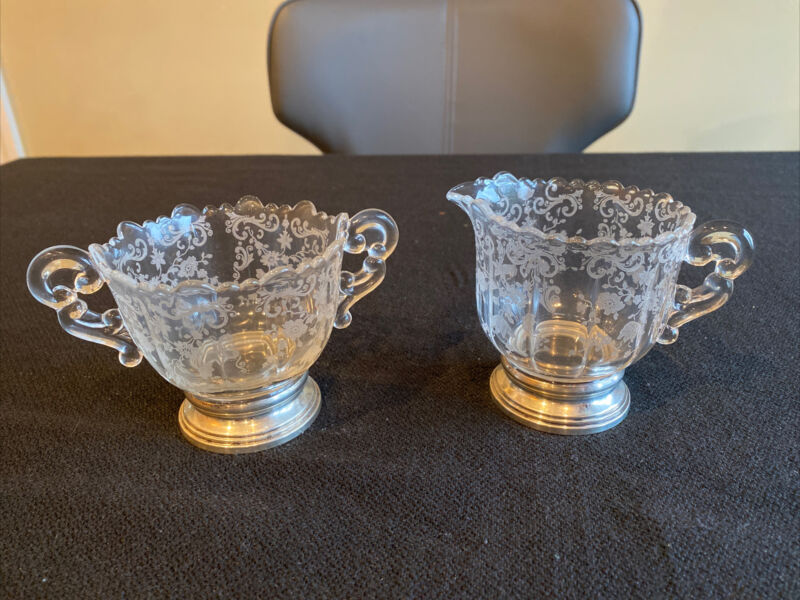 Vintage Cambridge Chantilly Etched Sugar Bowl And Creamer With Sterling Bases
