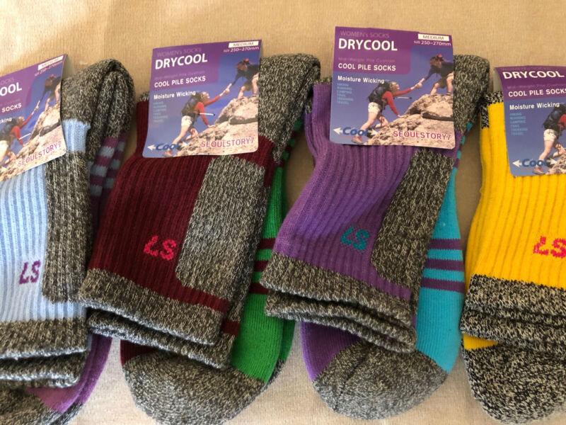 Dry Cool Warm Womens Multi Color Performance Outdoor Hiking Socks Size 8- 10