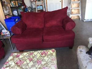 Couch and love seat suede very good condition