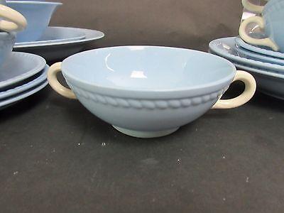 Set of 3 Kraft Blue Cream Soup Bowls Homer Laughlin HLC
