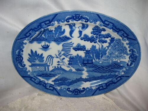 "Vintage Oval Blue Willow Serving Platter Made in Japan 12 3/4"" x 9 1/4"""