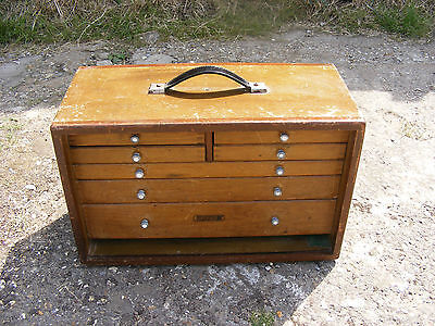 UNION VINTAGE WOODEN ENGINEERS TOOL MAKERS TOOLMAKERS CABINET BOX WITH TOOLS