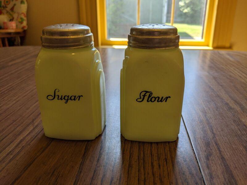 Vintage Custard Glass Roman Arches Sugar & Flour Range Set