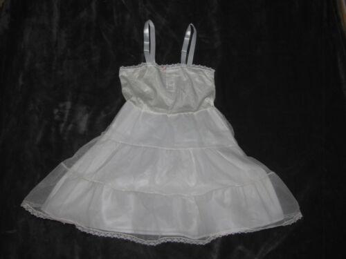 Vtg Her Majesty Girls Nylon Slip White Lace Frilly 8