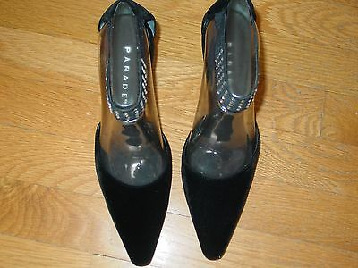 - parade Black gala color size 6 fabric upper leather sole Heel height 3 in.NEW