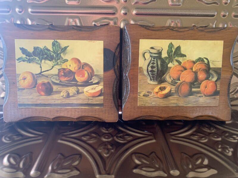 Vintage Decoupage Plaques Wooden Fruit Apples Peaches Farmhouse Country